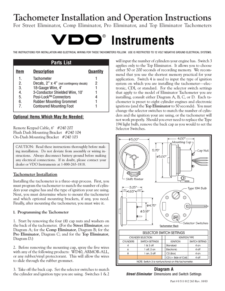 Vdo Tach Wiring Top Eleminator Wire Center Exploriments Electricity Voltage Measurement In Series Tachometer Installation Manual Rh Manualzilla Com