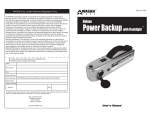 Wagan Deluxe Power Backup User`s manual
