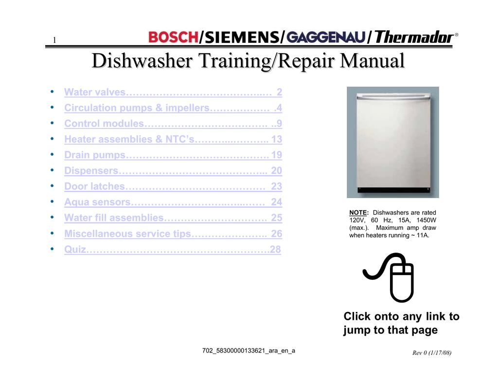 Bosch she43 dishwasher manual