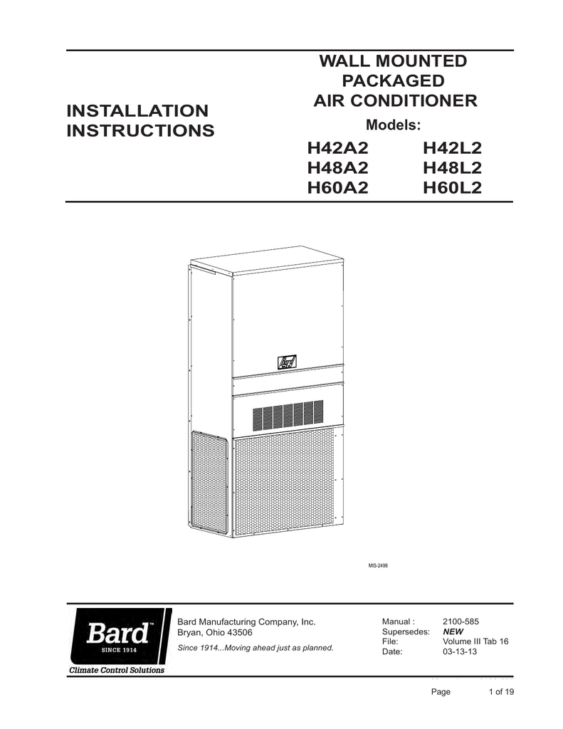 Bard MV4000 SERIES Specifications on