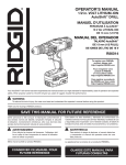 RIDGID AUTOSHIFT R86014 Operator`s manual