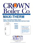 Crown Boiler MT100G Operating instructions