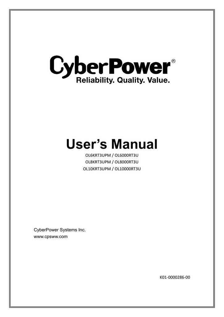 CyberPower OL10000RT3U User`s manual on