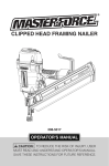 Master-force CLIPPED HEAD FRAMING NAILER Operator`s manual