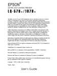 Epson 570e - LQ B/W Dot-matrix Printer User`s guide