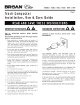 Trash compactor installation, use & care guide read and save THese