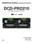 American Audio DCD-PRO250 Operating instructions