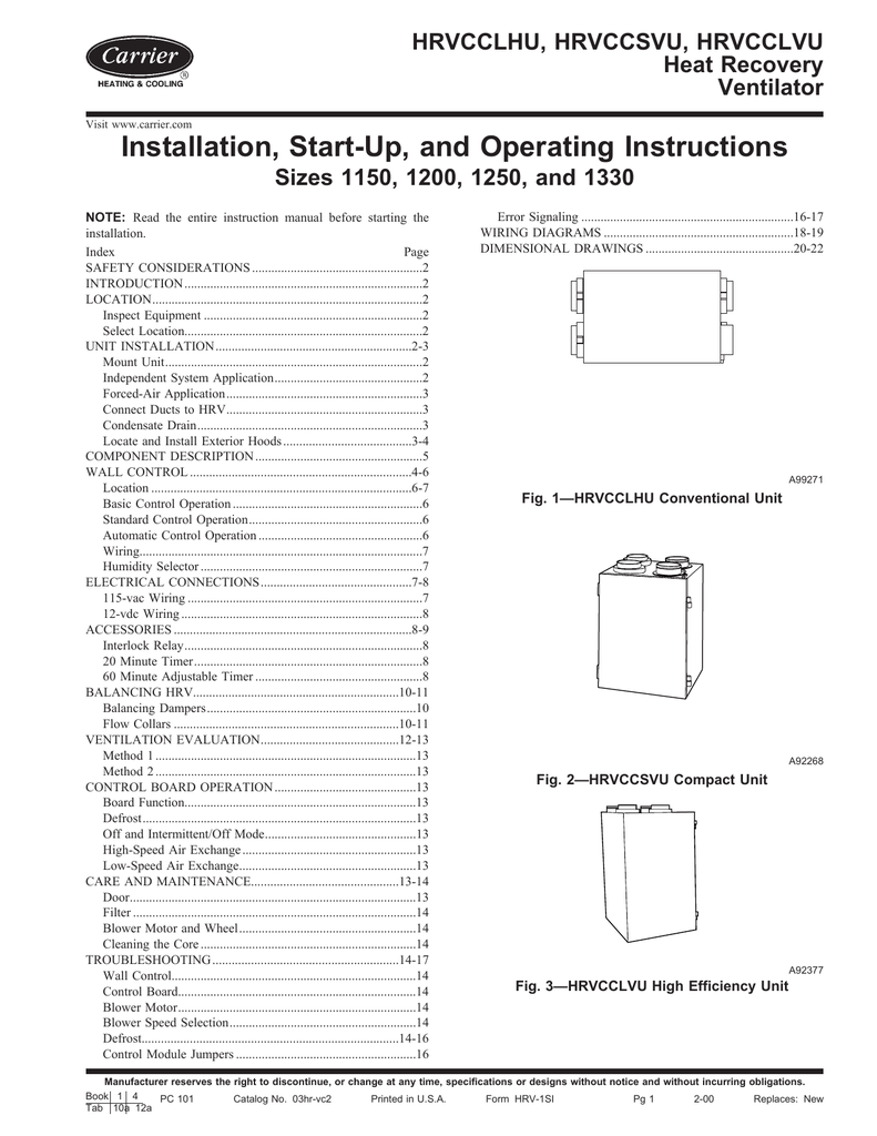 Carrier Hrvcclhu Operating Instructions High Efficiency Wiring Diagram