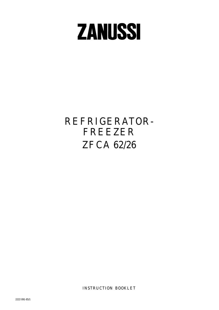 zanussi zfca 62 26 specifications rh manualzilla com