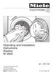 Miele W4840 Operating instructions