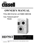 Cissell MANHD75ST Owner`s manual