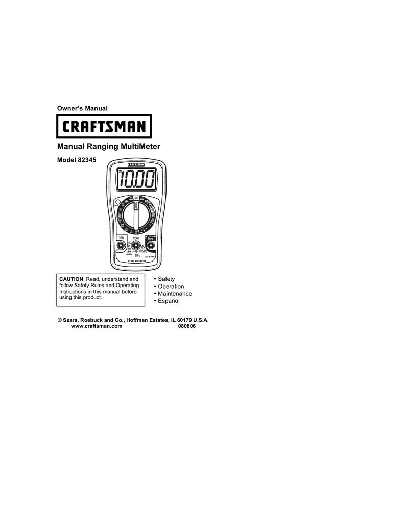 craftsman 82345 owner s manual rh manualzilla com Craftsman Multimeter 82139 craftsman 82345 multimeter manual
