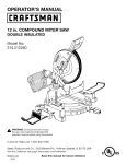 Craftsman 315.212050 Operator`s manual