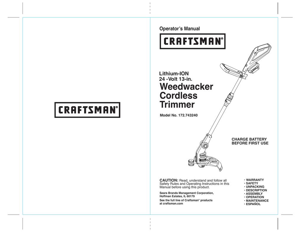 Crafstman 172 743240 Operator`s manual