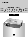 Canon 7215 - LV XGA LCD Projector Owner`s manual