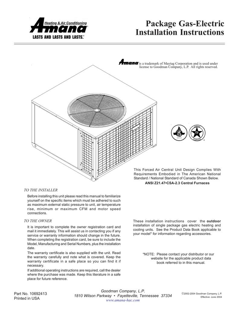 Amana Pgdc Operating Instructions Goodman Furnace Wiring Diagram For Gas Units