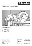 Miele TOUCHTRONIC G 894 SC Operating instructions