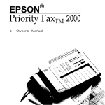 Epson PriorityFAX 1000 Owner`s manual