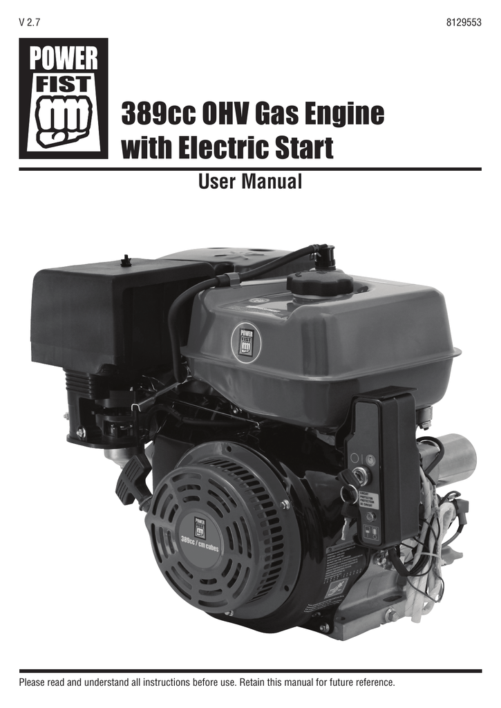 Power Fist 13 HP 389cc OHV Gas Engine User manual