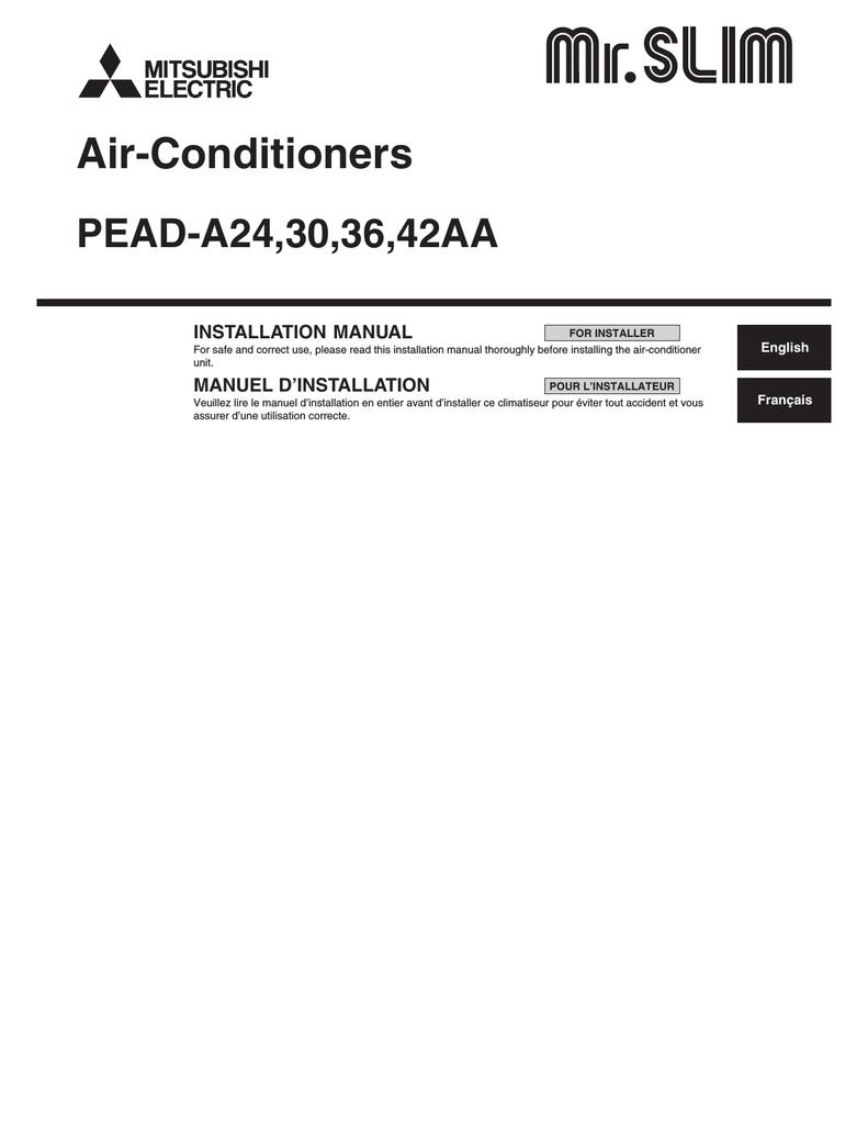 Mitsubishi Electric PEAD-A24 Installation manual | Split System Wiring Diagrams For Mitsubishi Pkaa24 |  | manualzilla.com