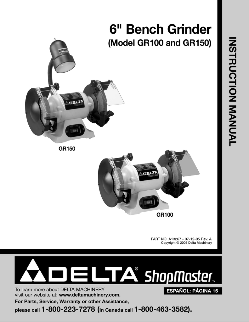 Delta Gr150 Instruction Manual Bench Grinder Wiring Diagram