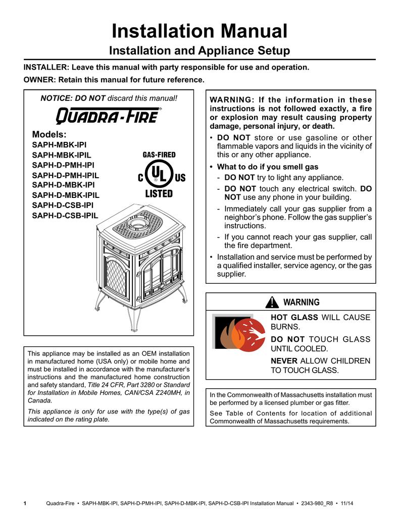 Quadra-Fire SAPH-MBK-IPI Installation manual on
