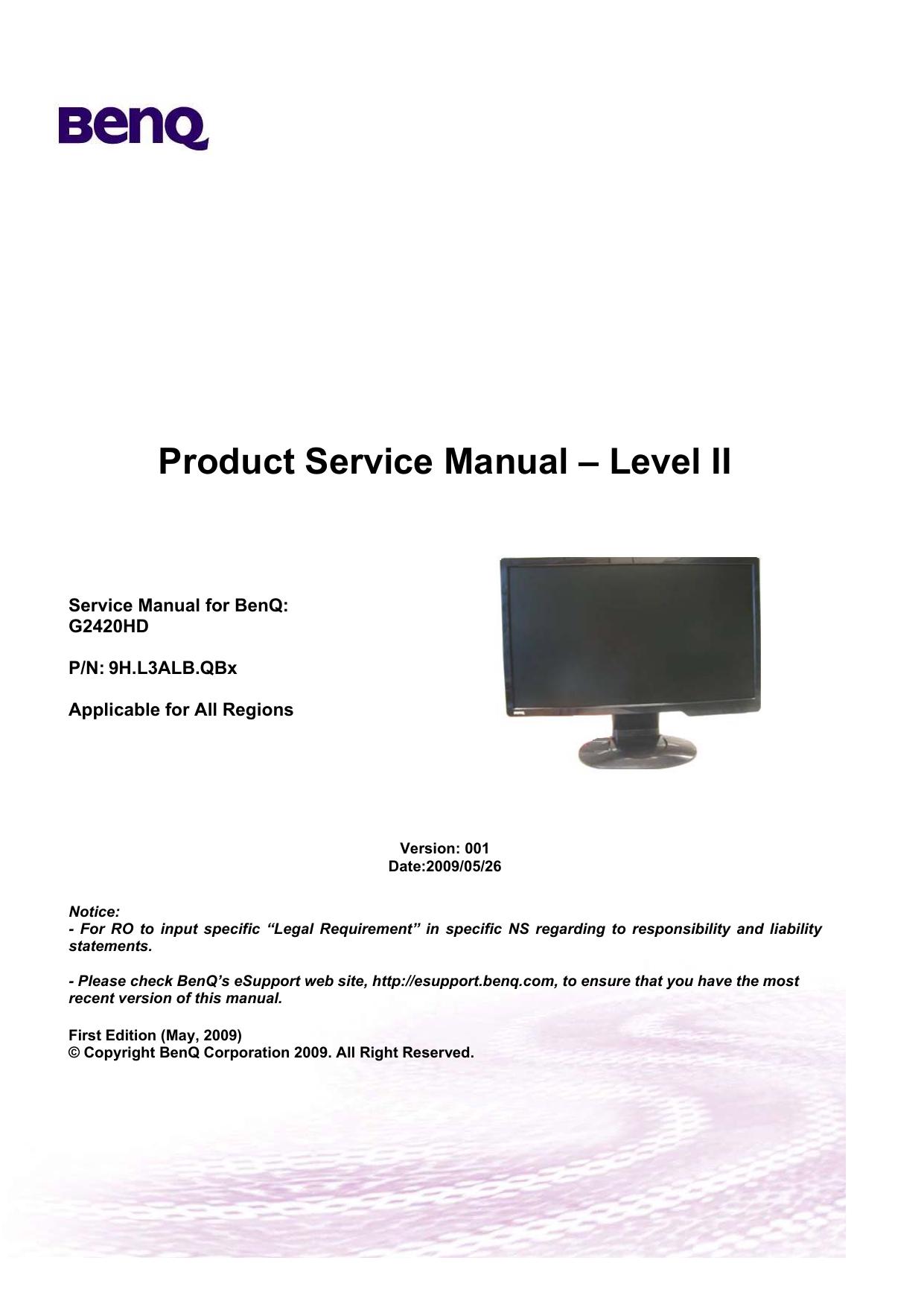 benq g2420hd service manual rh manualzilla com Aircraft MAINTEANCE Manuals Facility Manuals