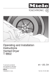 Operating and Installation Instructions Vented Dryer T 9802