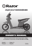 Razor Sportmod Owner`s manual