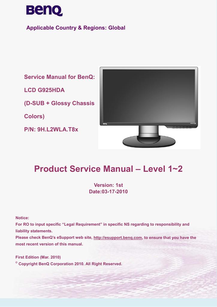 benq g922hdl service manual rh manualzilla com benq service manual projector Aircraft MAINTEANCE Manuals