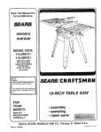 Craftsman 113.298761 Specifications