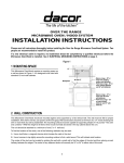 Dacor Pcor30s Installation Instructions