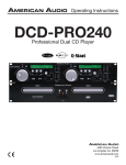 American Audio DCD-PRO240 Operating instructions