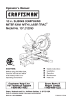 Craftsman 21239 - 12 in. Sliding Compound Miter Saw Operator`s manual
