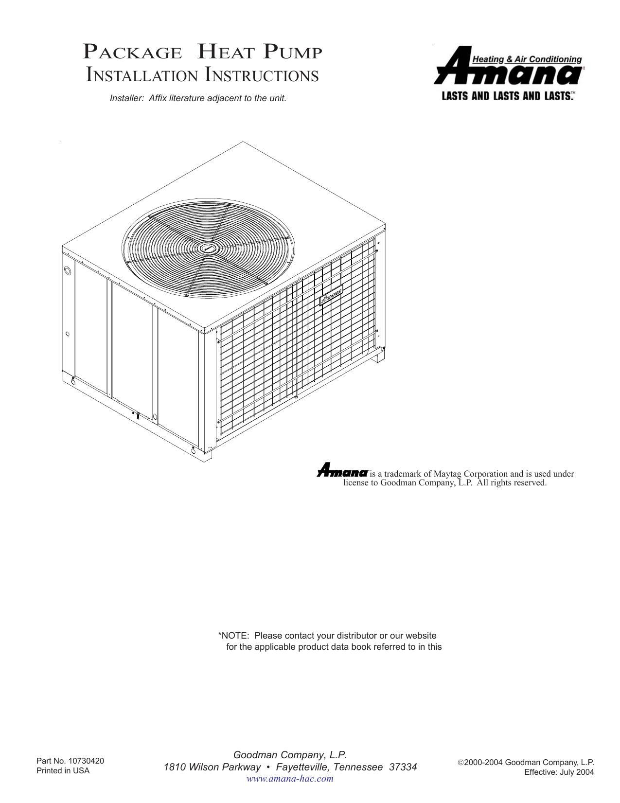 Amana PHD48 Product data