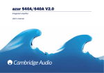 Cambridge Audio 540A User`s manual